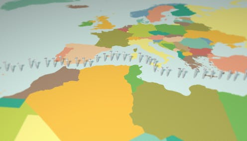 mapa político del Mediterráneo con una línea de tornillos a modo de frontera entre el norte y el sur.