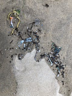 Microplastics on a beach in Vietnam