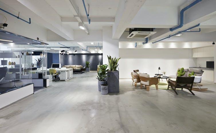 A modern open-concept office interior