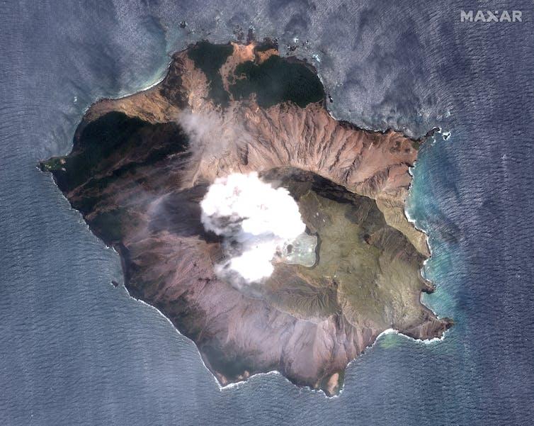 Satellite image of Whakaari/White Island