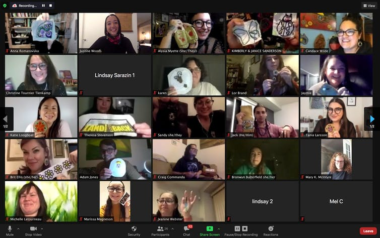 A videoconferencing screen showing beaders sharing their work.