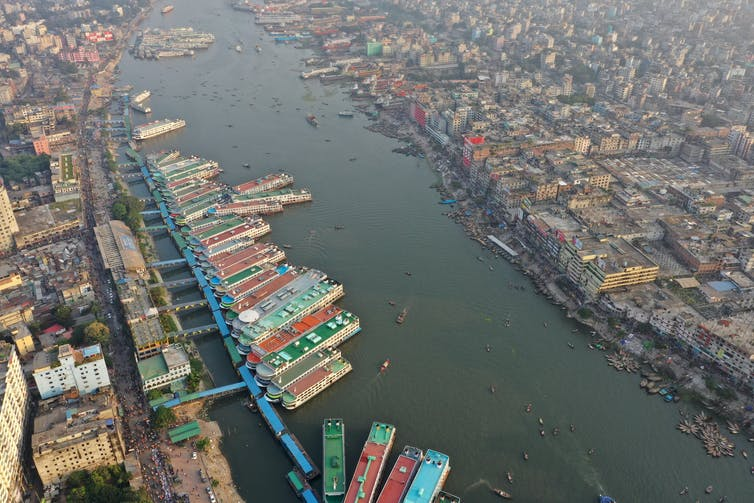 Aeriel view of the Buriganga River in Dhaka, Bangladesh.