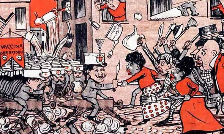 Cartoon of an army of people in Red Cross uniforms confronting a mixed-race crowd of people using brooms and other household items as weapons