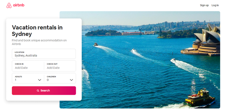 Airbnb home page for Sydney