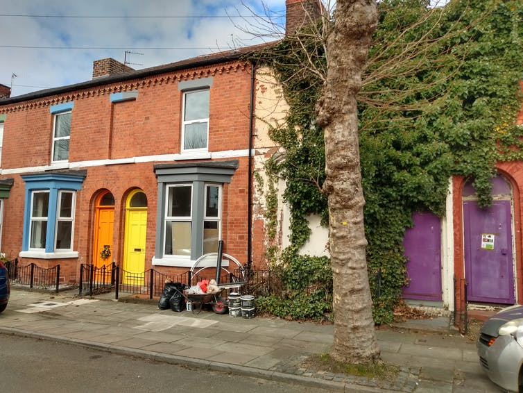 Brightly coloured renovated houses.