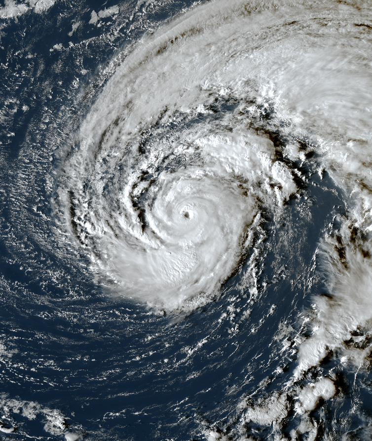 A satellite image of Hurricane Epsilon in the North Atlantic.
