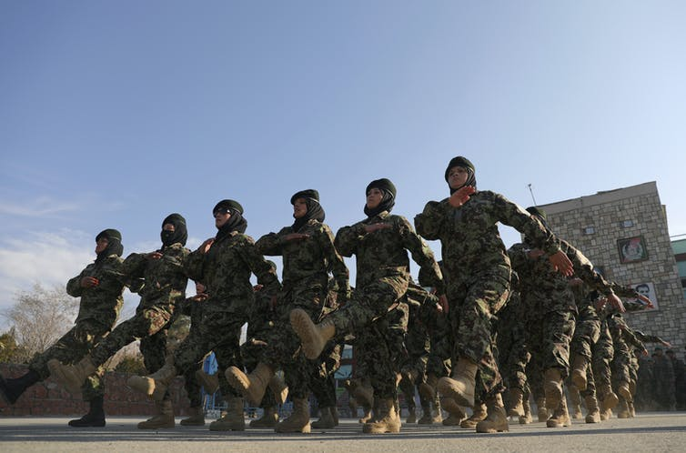Afghan National Army soldiers march
