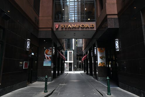 View outside the Stamford Plaza Hotel in Melbourne