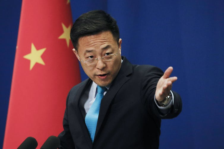 Zhao Lijian at a daily press briefing