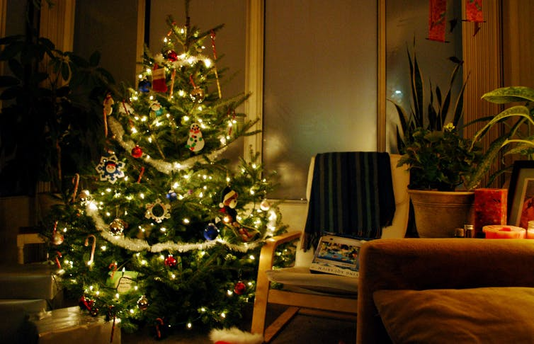 A decorated Christmas tree in a home.