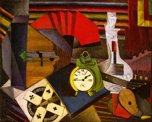 Abstract painting of an alarm clock,