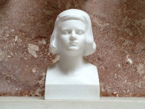 A marble bust of German activist Sophie Scholl.