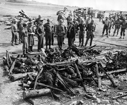 General Eisenhower views the views the charred bodies of prisoners at Ohrdruf concentration camp