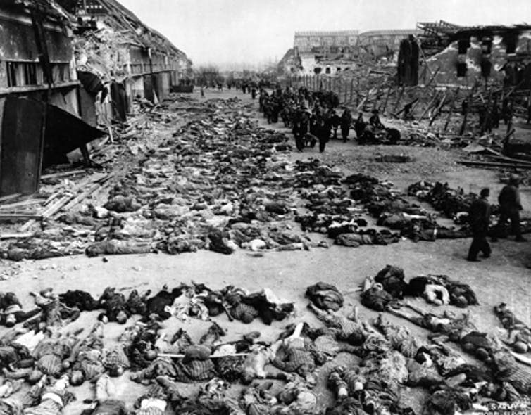 Bodies at the Nordhausen concentration camp in Germany.