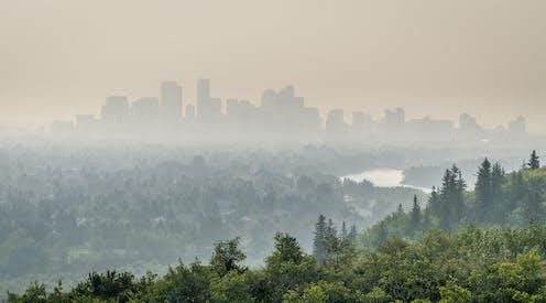 A hazy sky over a city.