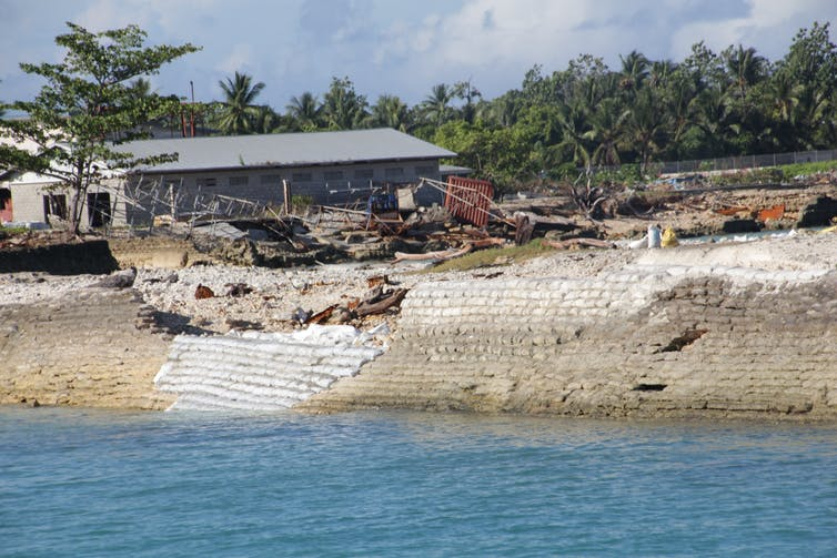 A sea wall in Kiribati