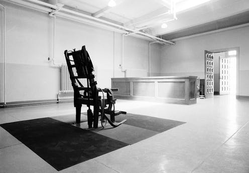 an empty electric chair in the Death House at Sing Sing Prison in Ossining, N.Y.