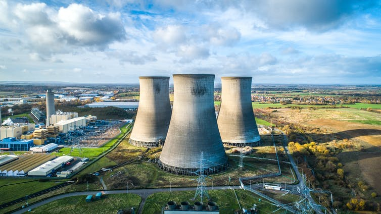 Cooling towers at a large power station