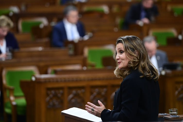Chrystia Freeland gestures while speaking in the House of Commons.