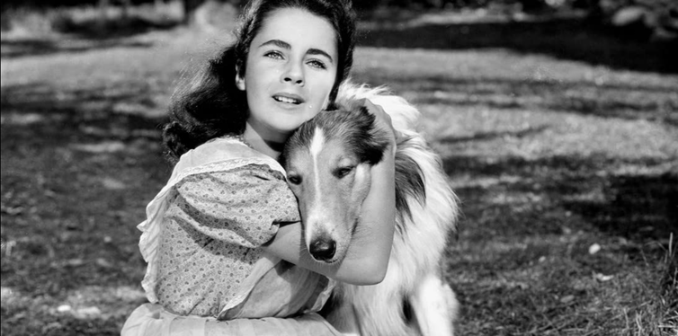 Girl with dog in black and white movies