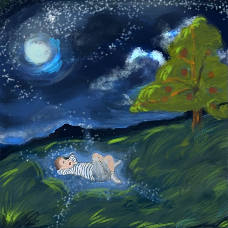 A painting of a child staring up at the stars