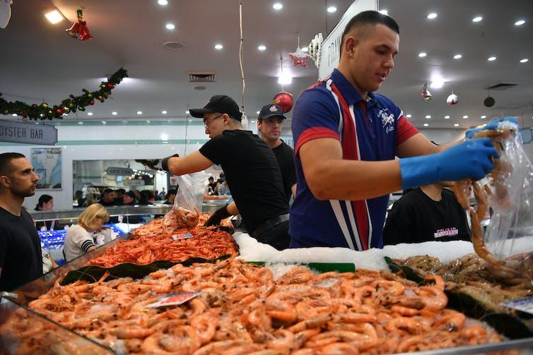 Piles of prawns