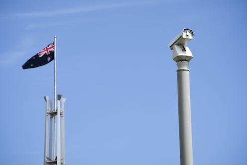 A CCTV camera next to an Australian flag