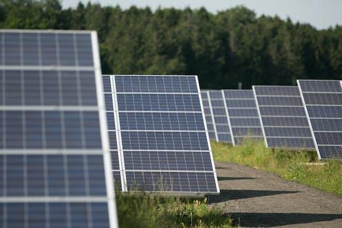 Solar panels arranged in a solar farm.