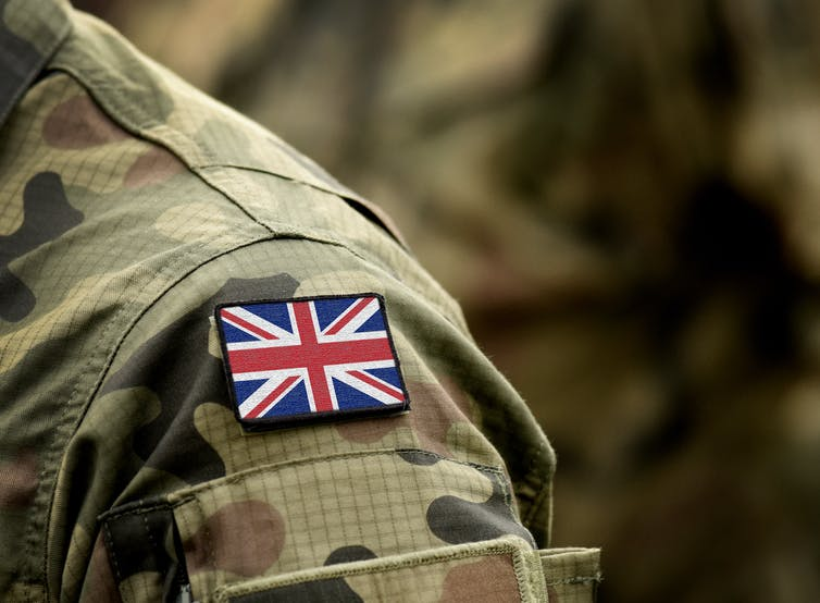 British army soldier's shoulder with union jack flag