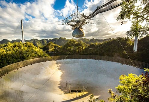 Image of the Arecibo radio telescope dish.