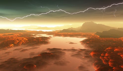 a red river of lava underneath a lightning strike