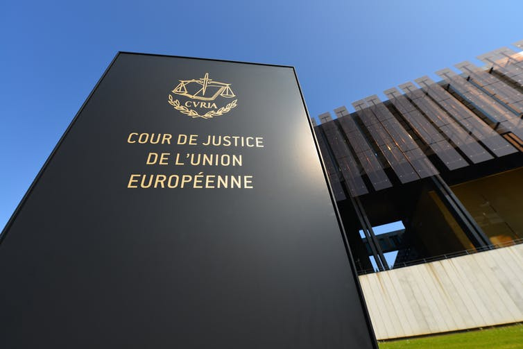 A sign outside the European Court of Justice.