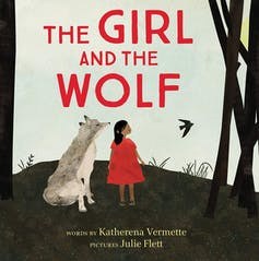 A girl and a wolf.