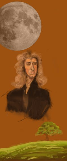 A drawing of Issac Newton next to a tree and the moon.