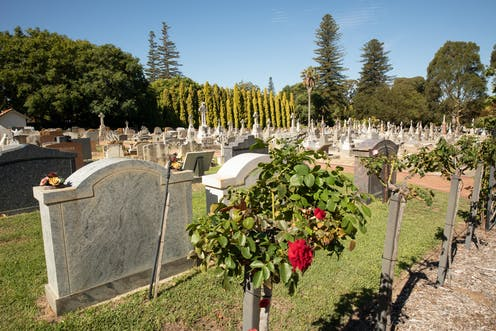 view of headstones in traditional cemetery