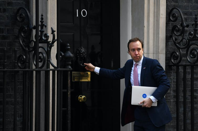 Health Secretary Matt Hancock entering 10 Downing Street.