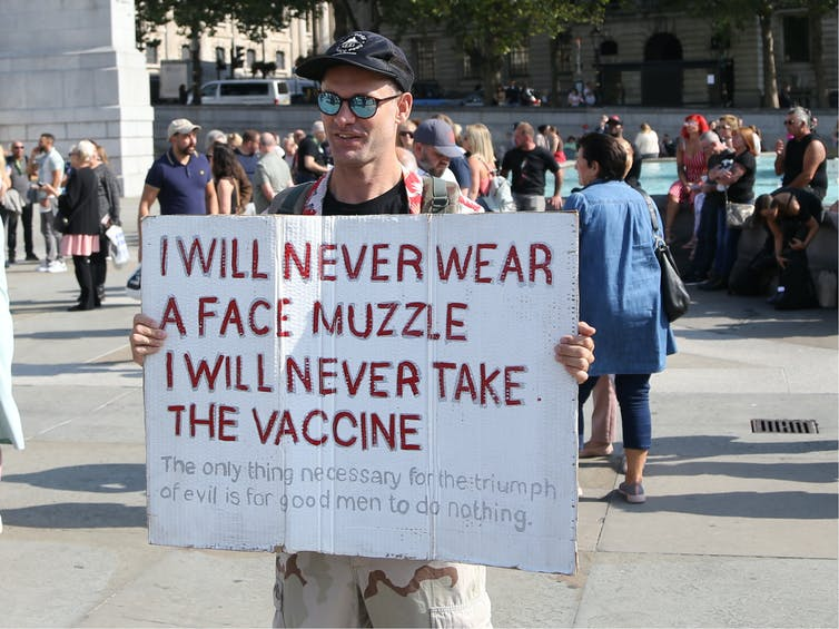 An anti-mask protester