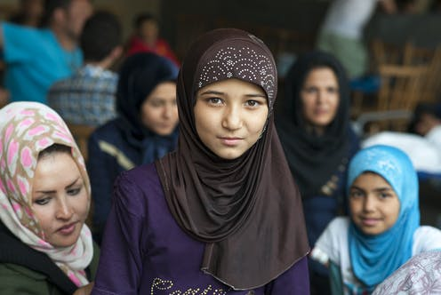 Syrian women and girls at a refugee camp in Passau, Germany.