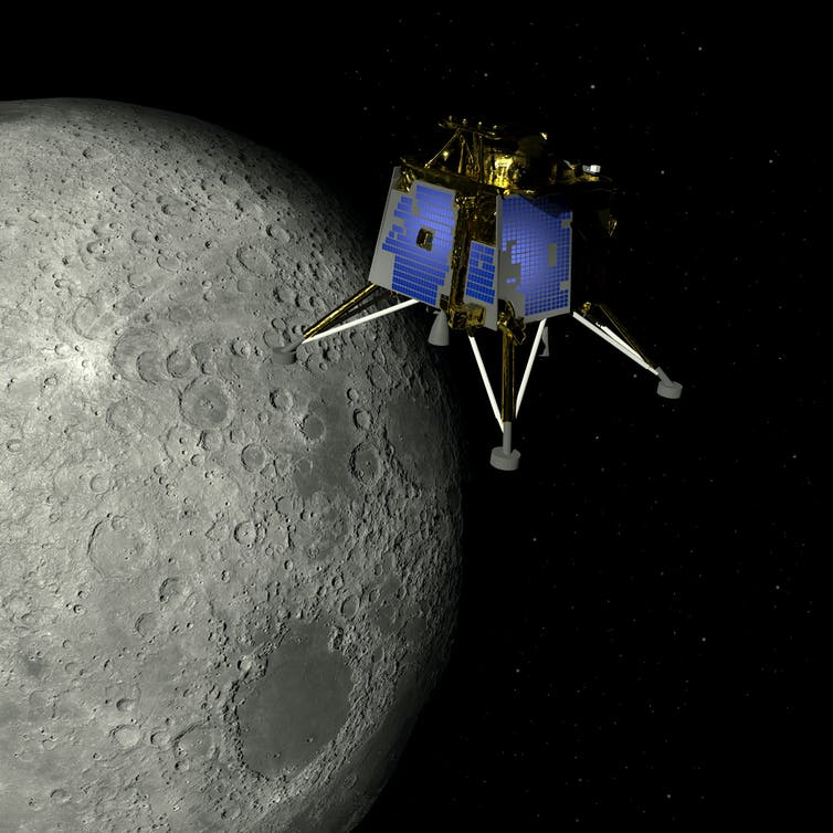 Computer image of a satellite above the Moon.