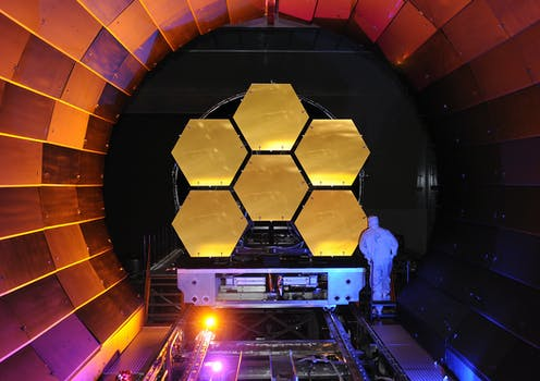 NASA's James Webb telescope mirror undergoing cryogenic testing.