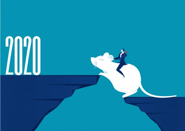 An illustration of a businessman sitting on a rat jumping up to a 2020 sign.