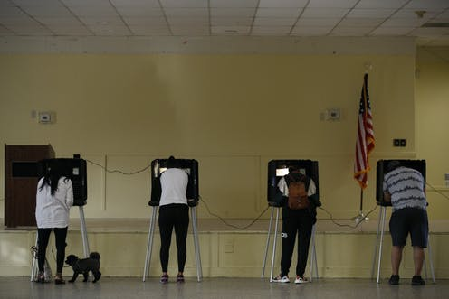 People stand at voting booths.