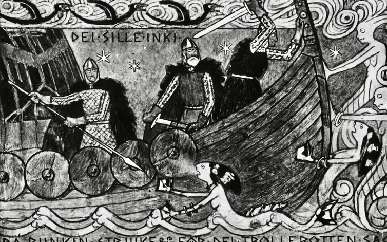 Period drawing of a Viking wooden ship surrounded by evil looking mermaids.