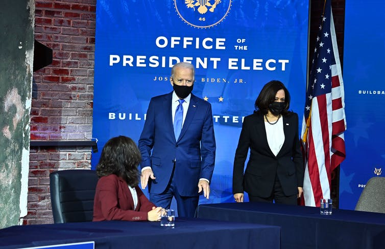 Biden and Harris appearing at an announcement event
