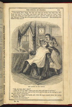 Illustration of Sweeney Todd murdering a victim in his barber's chair from  A String of Pearls.