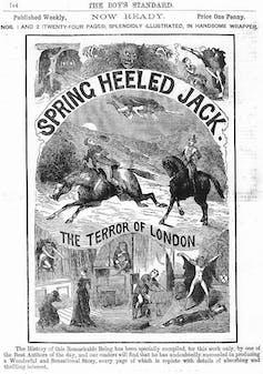 Illustration of a flying demon terrorising people.