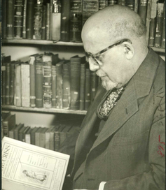 W.E.B. Du Bois in his office, ca. 1948