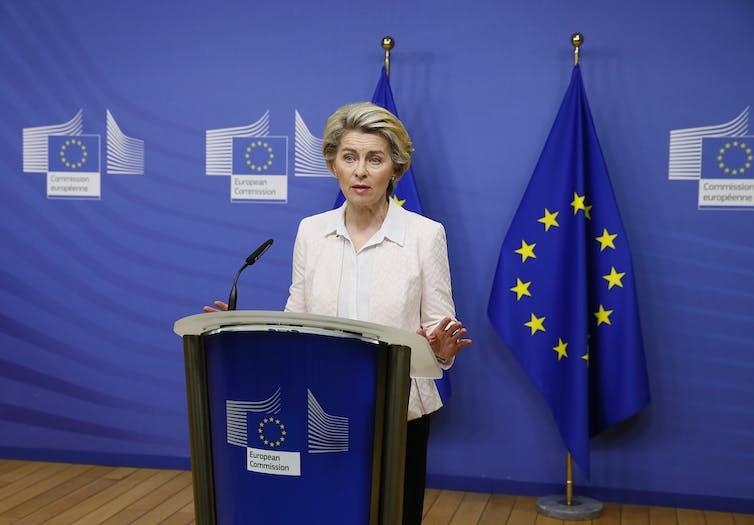 Ursula von der Leyen giving a press briefing.
