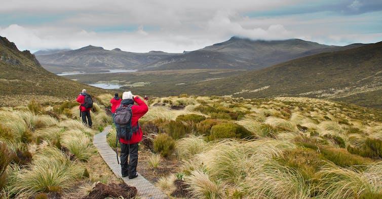 Walkers trekking in deserted landscape
