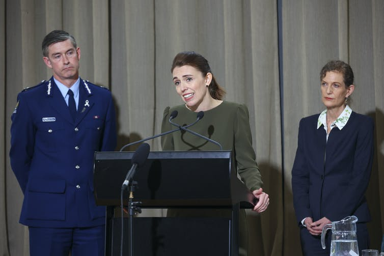 Jacinda Ardern with Police Commissioner Andrew Coster and Director-General of Security Rebecca Kitteridge